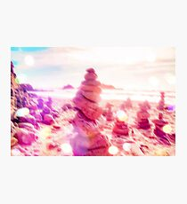 stone balancing at the sandy beach with summer bokeh light Photographic Print