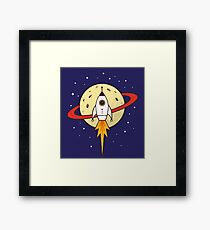 Space Rocket and Planet Framed Print