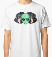 Colorful vibrant portrait of an alien from outer space face in disguise as human girl. Classic T-Shirt