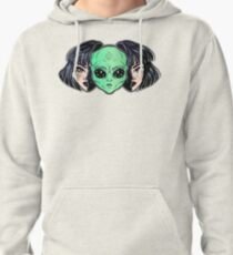 Colorful vibrant portrait of an alien from outer space face in disguise as human girl. Pullover Hoodie