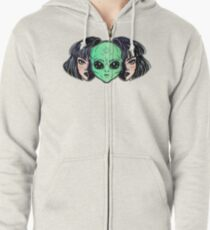 Colorful vibrant portrait of an alien from outer space face in disguise as human girl. Zipped Hoodie