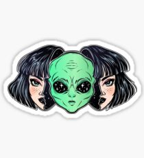 Colorful vibrant portrait of an alien from outer space face in disguise as human girl. Sticker