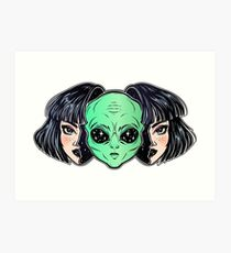 Colorful vibrant portrait of an alien from outer space face in disguise as human girl. Art Print