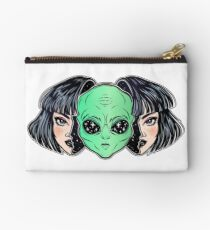 Colorful vibrant portrait of an alien from outer space face in disguise as human girl. Studio Pouch