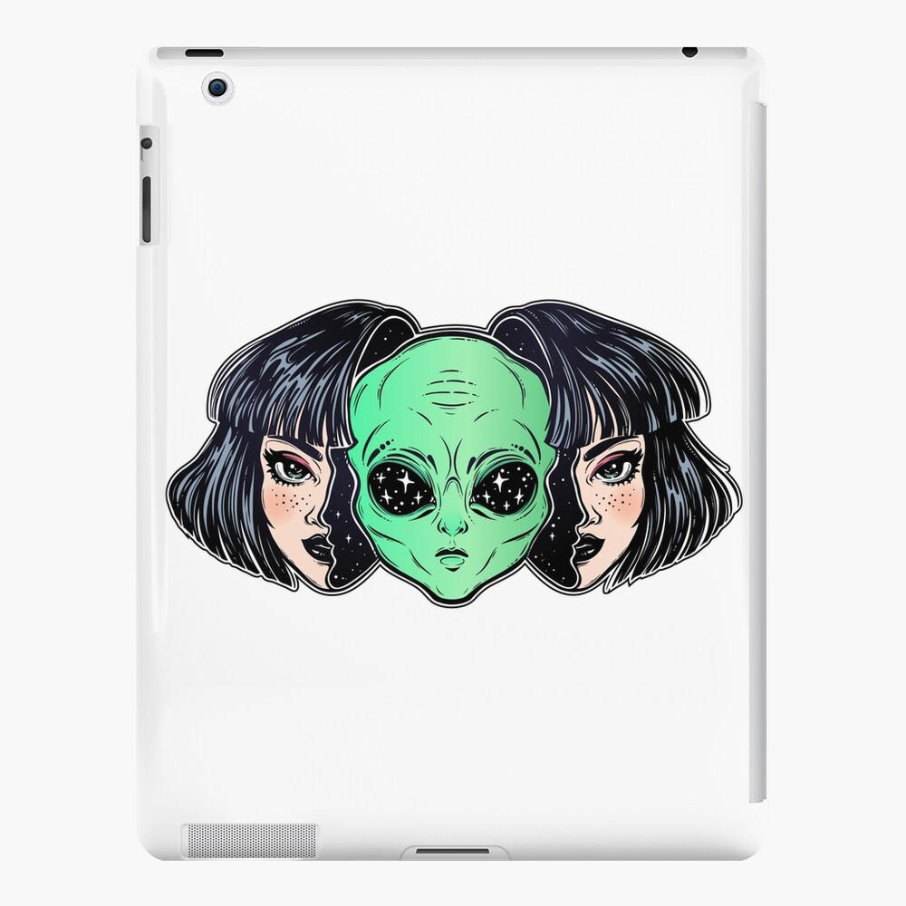 Colorful vibrant portrait of an alien from outer space face in disguise as human girl. iPad Case & Skin