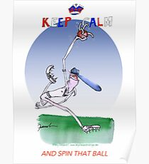 English Cricket Keep Calm and spin that ball Poster