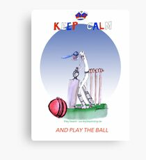 English Cricket Keep Calm and play the ball Canvas Print