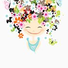 Cute girl with floral hairstyle by Kudryashka