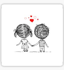 Couple Love Sketch Girl Hand Boy Wedding Cartoon Heart Vector Happy