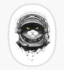 Cosmic cat on black Sticker