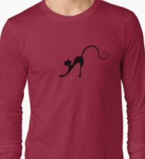 Black cat silhouette Long Sleeve T-Shirt