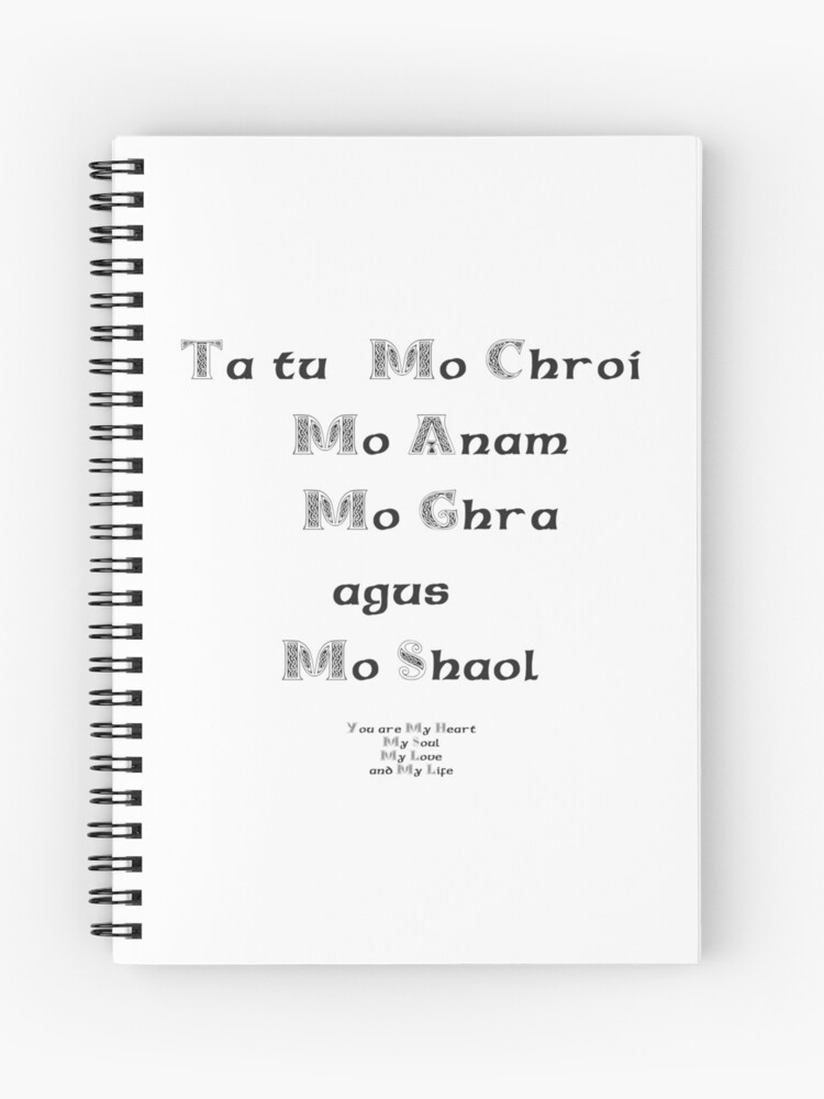 You are my Heart My Soul My Love and My Life - Gaelic | Spiral Notebook