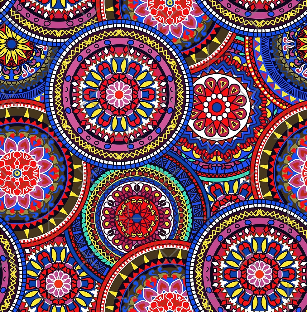 Quot Seamless Multicolor Pattern With Oriental Mandalas