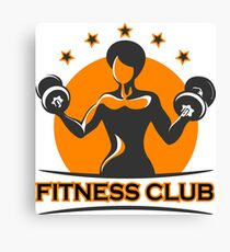 Fitness Emblem with Athletic Girl Canvas Print