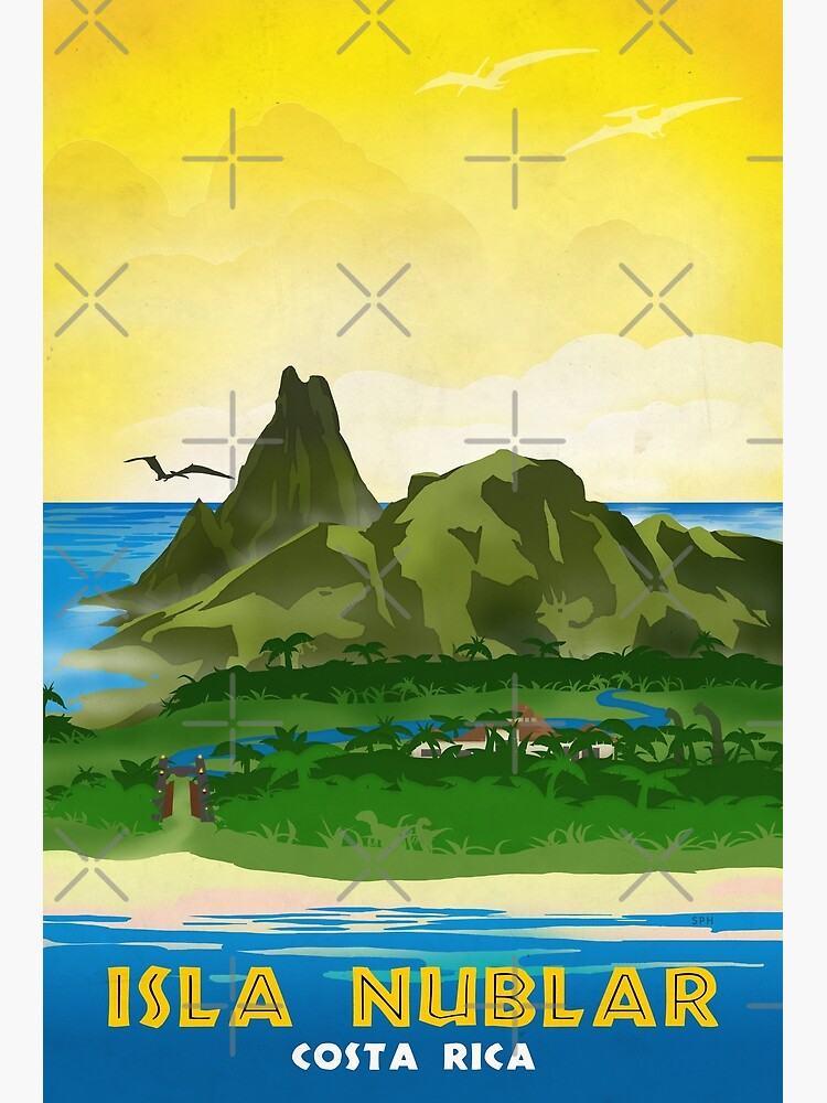 Isla Nublar - Retro Jurassic Park Travel Poster by forge22