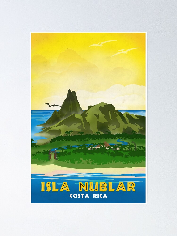 Alternate view of Isla Nublar - Retro Jurassic Park Travel Poster Poster
