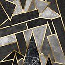 Grey and Gold Geometric Mosaic Print by Fangpunk