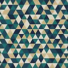 Foggy Petrol and Blue - Hipster Geometric Triangle Pattern by DesignByLang