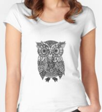 Zentangle Owl Women's Fitted Scoop T-Shirt