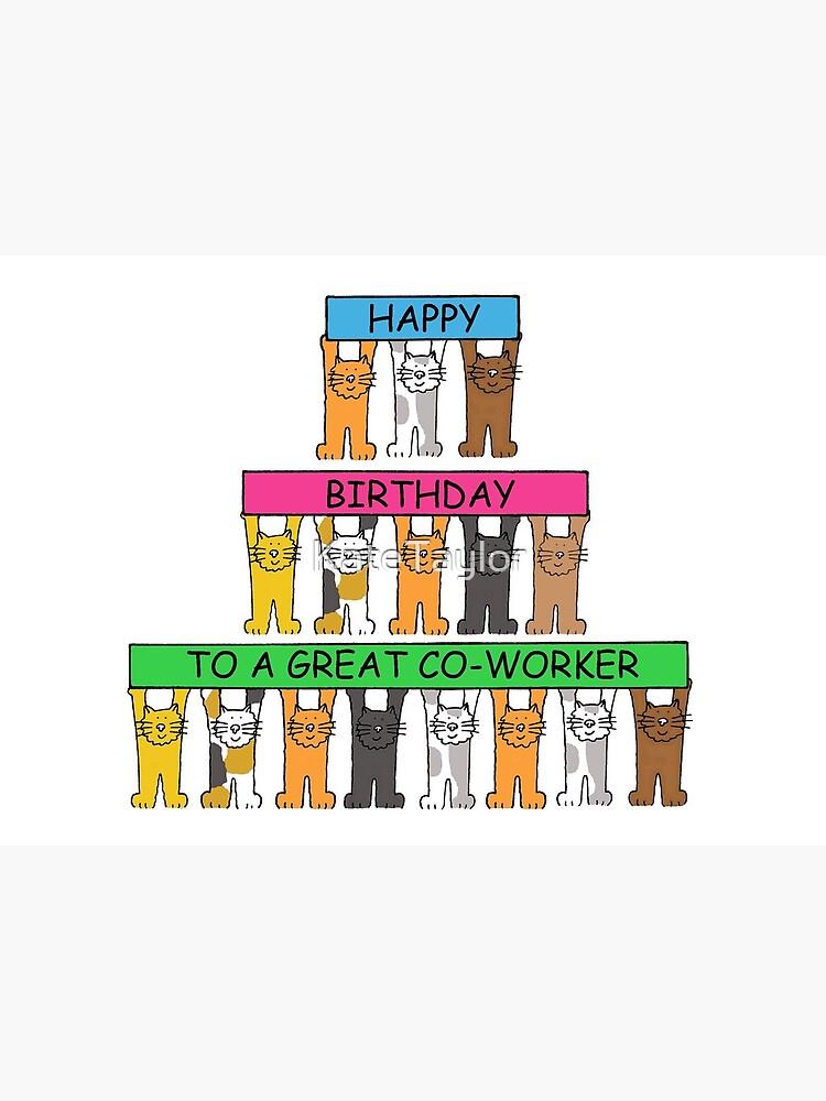 Joyeux Anniversaire à Un Collègue Cartoon Cats Carte De Vœux