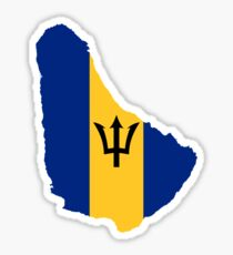Barbados Flag Map  Sticker