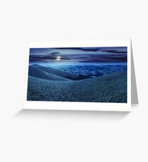 wild grass on mountain top at night Greeting Card