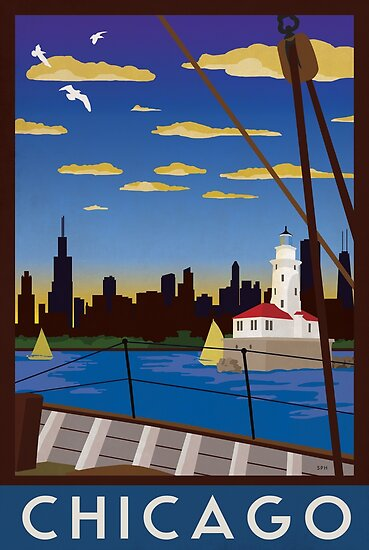 NEW POSTER Chicago Illinois Windy City on Lake MichiganTravel Illinois Print