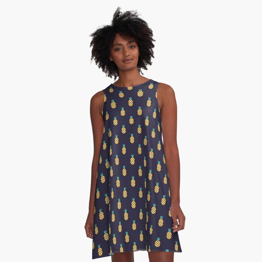 Disco Pineapple Print A-Line Dress Front