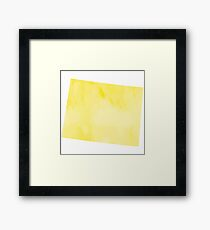 Yellow Watercolor Wyoming Framed Print