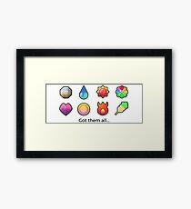 Pokemon gym badges Framed Print