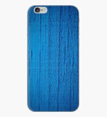 Blue paint on wood background iPhone Case