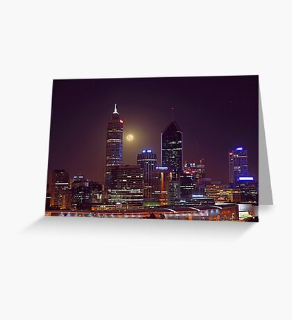 Moonrise Over Perth City  Greeting Card
