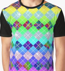 Abstract Rainbow Argyle Pattern Graphic T-Shirt