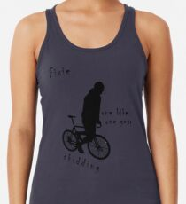 Fixie - one bike one gear - skidding (black) Racerback Tank Top