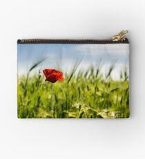 red poppy in the wheat field Studio Pouch