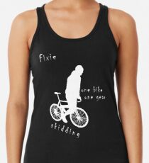 Fixie - one bike one gear - skidding (white) Racerback Tank Top