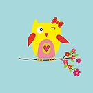 Cute Yellow Owl,  Pink Flowers Illustration by DesignByLang