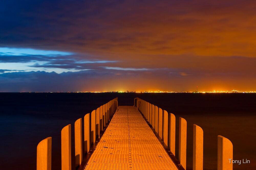 Dusk Time Exposure Jetty Port Phillip Bay by Tony Lin
