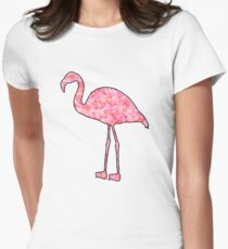 Pink patterned flamingos design Women's Fitted T-Shirt