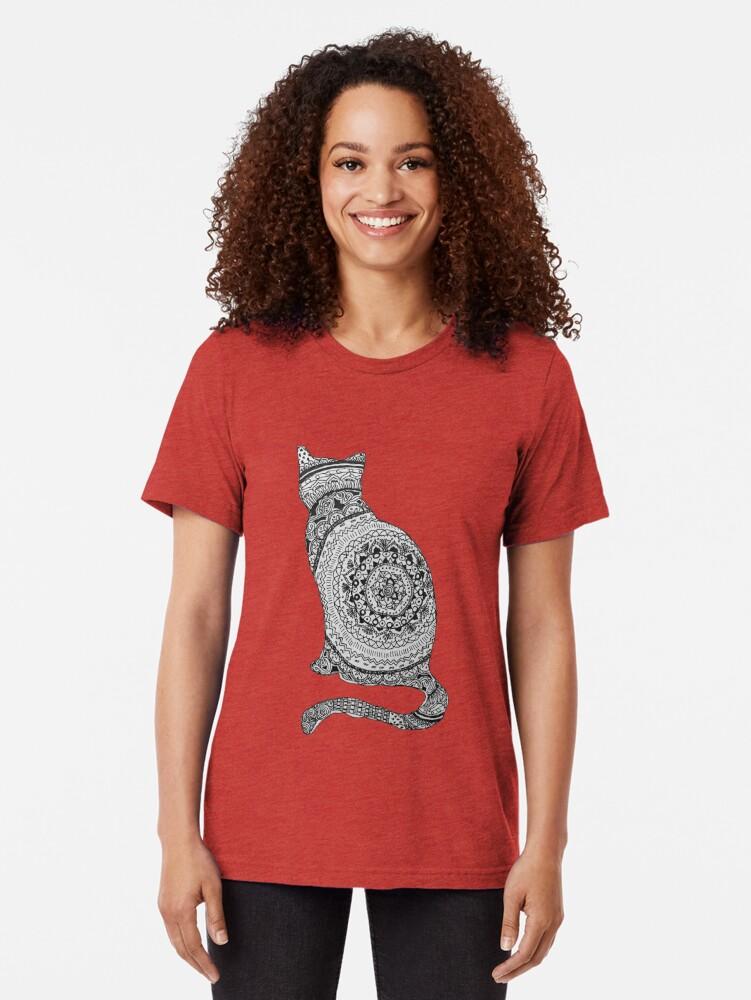 Vista alternativa de Camiseta de tejido mixto gato mandala