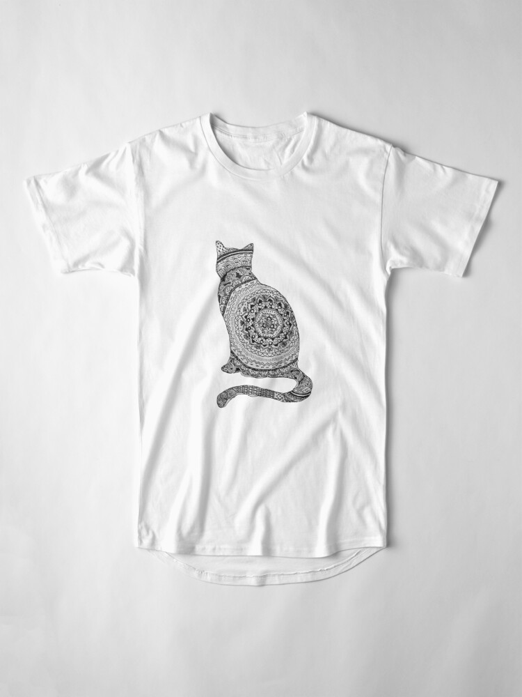 Vista alternativa de Camiseta larga gato mandala