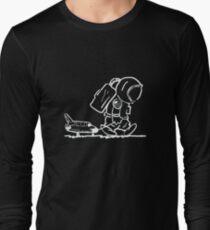 Camiseta de manga larga Triste astronauta tirando del transbordador espacial (negro)