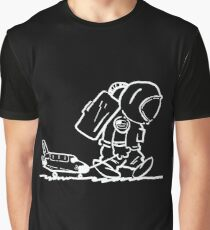Trauriger Astronaut zieht Space Shuttle (schwarz) Grafik T-Shirt