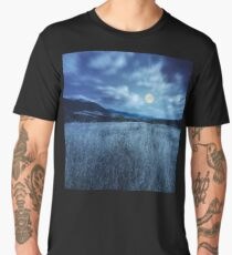 meadow with high grass in mountains at night Men's Premium T-Shirt