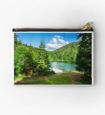 lake near the mountain in pine forest Studio Pouch