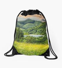 pine trees near meadow in mountains Drawstring Bag