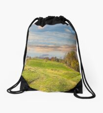 path on hillside meadow in mountain Drawstring Bag