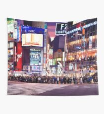 People standing at the Wolrds busiest Shibuya intersection waiting for the green light to start crossing Tokyo Japan art photo print Wall Tapestry