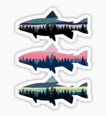 3 Tree line Fish Sticker