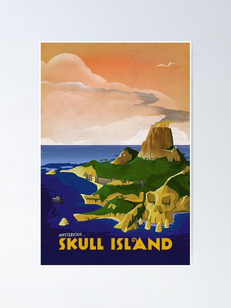 Alternate view of Skull Island - King Kong Retro Travel Poster Poster